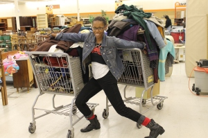 50% off, well organized thrift store, and too thrift chicks=two overflowing shopping carts!
