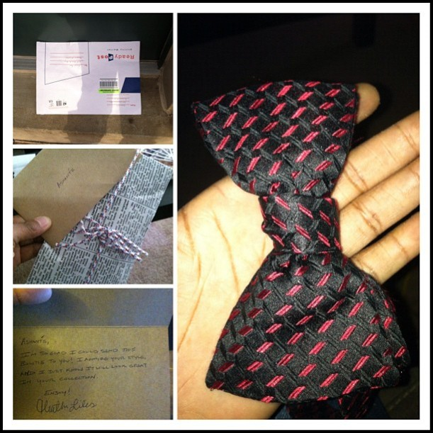 Heather knows Reese loves bowties, so she sent this gift in the mail....a vintage Neiman Marcus bowtie!