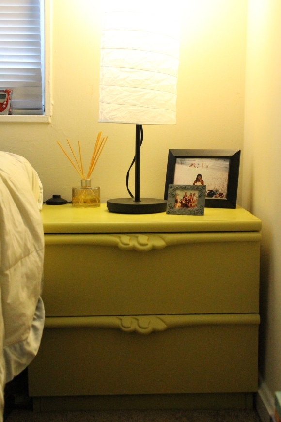 Ricks chose Satin Lemon Grass as the color for her nightstand