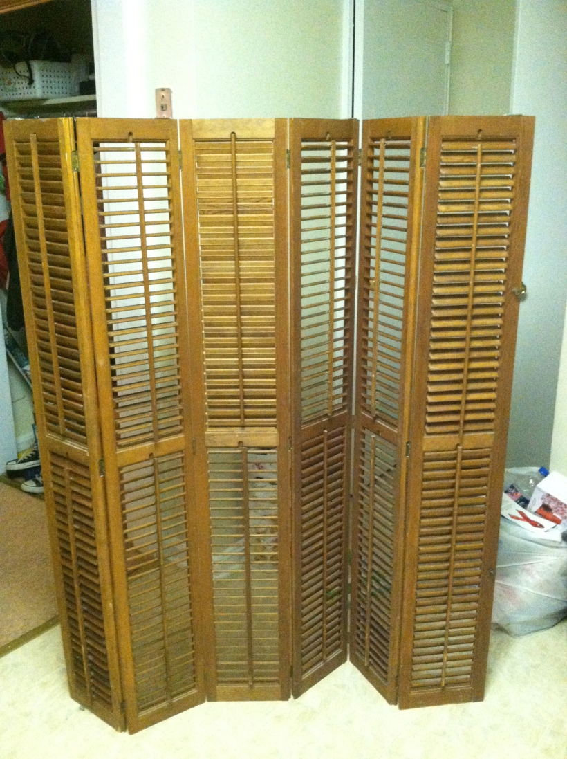 Shutters before they were cleaned and hung